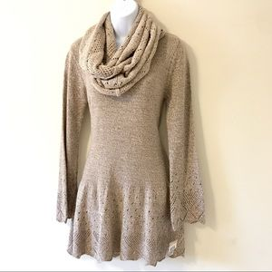 Style & Co. Sand Sweater Dress Detachable Scarf S